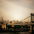 Image of The Manhattan Bridge and the New York City Skyline at Sunset